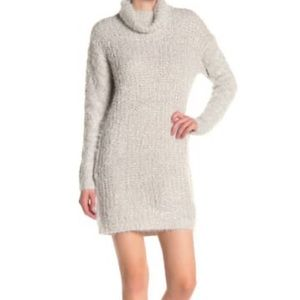 Solutions Fuzzy Knit Cowl Neck Sweater Dress